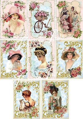 Shabby Chic French Style Vintage Women Fabric Block Quilt Pillow Set of 8