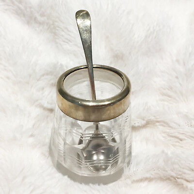 Deco Cut Glass/Silver Mustard Pot, Birmingham 1928 & Silver Spoon, London 1903