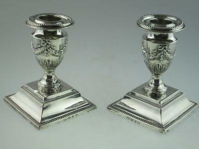 Antique Solid Silver Candlesticks London 1899 By Barker Brothers