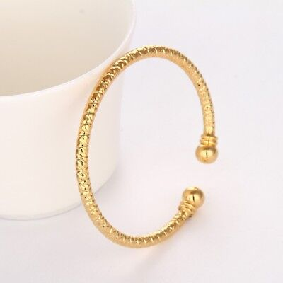 Women's Carved Bangle Bracelet 18K Yellow Gold Filled Fashion Jewelry NEW