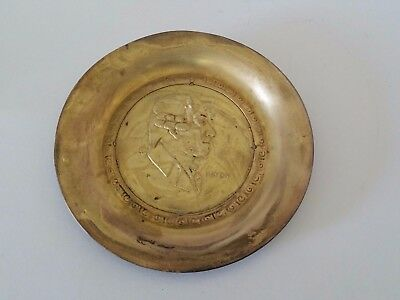 "Vintage Brass Decorative Plate 5 3/4"" Diameter Joseph Haydn made in England"