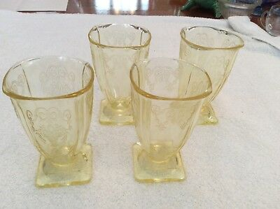 "Depression Glass 4 Lorain Basket Yellow Square Tumblers 4""3/4"