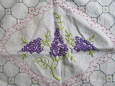 ANTIQUE LINEN PILLOWCASE SHAM Hyacinth Flowers Embroidered French Knots Vintage