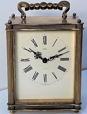 Antique SMITHS Brass 8 Day Carriage Clock with Floating Balance, working order