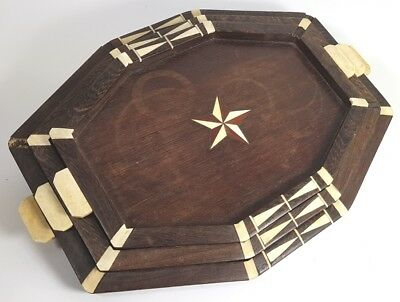 Art Deco Set, 3 Tabletts, Holz mit Intarsien, Afrika?, um 1920 AL583