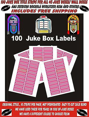JUKEBOX LABELS blank title Strips (100) , PINK, FREE S&H