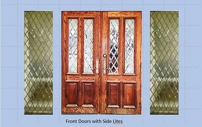 Vintage solid oak double doors leaded glass lights and sidelights, 60 x 80 in