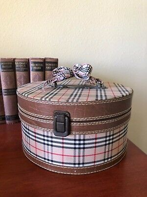 Antique Burberry nova check small wood storage hat box purse round 5 X 9 inches