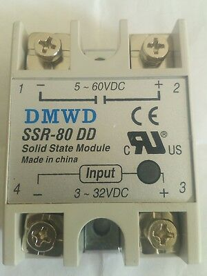 UK stocked Solid state relay 80amp 3-32 VDC to 5-60 VDC DC SSR-80 Low voltage DC