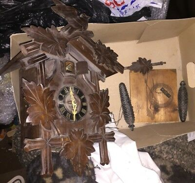 Vintage German Wooden Black Forest Cuckoo Clock Untested 2 Weight Pendulum Parts