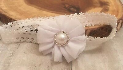 Baby White/Off White Flower Christening Headband Pearl Halo Baptism Wedding Girl