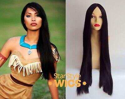 Deluxe Pocahontas Indian 28 Inch Extra Long Straight Black Costume Wig Cosplay