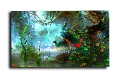 Peacock Canvas Print Wall Art Picture  18 X 32 Inch
