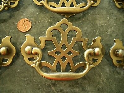 6 Antique Vtg Chippendale Pierced Brass Cabinet Drawer Pulls
