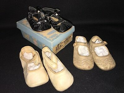 Antique/Edwardian/Vintage Shoes, Baby, Leather, 3 Pairs, Old Box