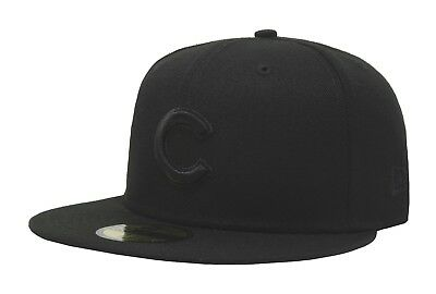 New Era 59Fifty Cap MLB Chicago Cubs Mens Black on Black Fitted 5950 Hat