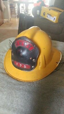 VINTAGE yellow MSA FIRE HELMET LEATHER BADGE TOPGARD
