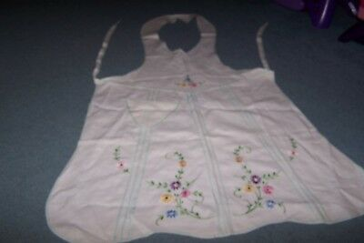 Vintage Hand Embroidered White Cotton Full Apron. Floral. purple, pink, yellow.
