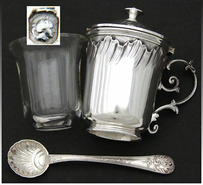 "Antique French Sterling Silver 3"" Mustard or Condiment Pot, Louis XVI or Rococo"