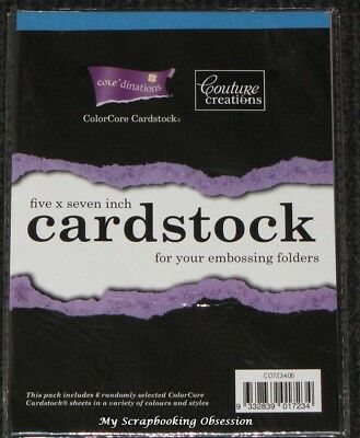 "Couture Creations 'CORE'DINATIONS' 5X7"" x6 ColorCore Cardstock * Deleted 1 Left*"