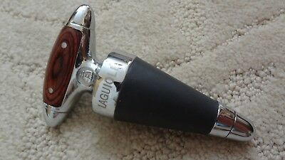 Laguiole Large Heavy Chrome and Wood Handled Wine Bottle Stopper Rare Marked