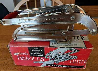 Vintage Ekco Miracle Stainless Steel French Fry Cutter with Box