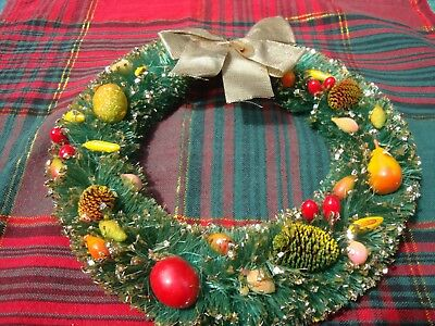 Vintage Green Bottle Brush Christmas Wreath Decorated with Fruit and Sparkles