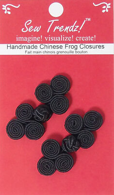 "Frogs Button Closures-Black-2""x1""-Flower Shape  - 2 Pairs/pk - #FG4696"