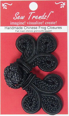 Frogs Button Closures-Black-Double Braid Three Loop - 1 Pair/pk. - #FG4750