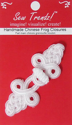 "Frogs Button Closures-White-3""x1.25""-Tapestry Net Design - 1 Pair/pk - #FG4705"