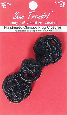 Frogs Button Closures-Black-Round Cord Pessimentry  - 1 Pair/pk. - #FG4753
