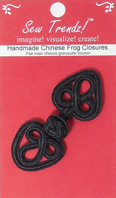 "Frogs Button Closures-Black-2.75""x1.25""-Flower in a Heart - 1 Pair/pk - #FG4655"