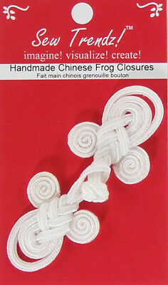"Frogs Button Closures-White-3.5""x1.5""-Angel Design - 1 Pair/pk - #FG4752"