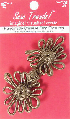 "Frogs Button Closures-Dark Taupe-4""x2""-Angel Flower - 1 Pair/pk - #FG4754"