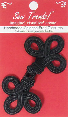 "Frogs Button Closures-Black-4.5""x2""-Double Three Loop - 1 Pair/pk - #FG4666"