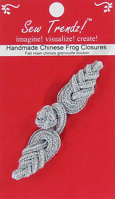 Frogs Button Closures-Metallic Silver-Pineapple Design - 1 Pair/pk. - #FG4759