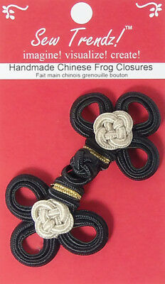 "Frogs Button Closures-Black/Beige/Gold-3.5""x1.75""-Double 3 Loop Flower  #FG4760"