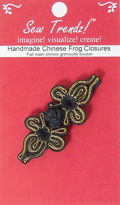 "Frogs Button Closures-Black/Gold-2.75""x1""-Butterfly Design - 1 Pair/pk  #FG4691"