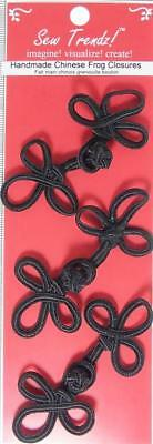 Frogs Button Closures- Black - Long 3 loop Frogs- 3 Pair/pk - #FG21