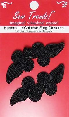 Frogs Button Closures- Black-Paisley Design - 2 Pair/pk - #FG03
