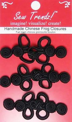 Frogs Button Closures- Black - Swirly 2 loop Frogs- 3 Pair/pk - #FG09