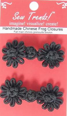 hinese Black Frogs Button Closures- Flower Design - 2 Pair/pk - #FG19