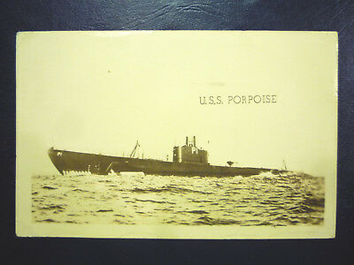 1943 RPPC WWII U.S.S. PORPOISE Submarine at Great Lakes Training - Free Post