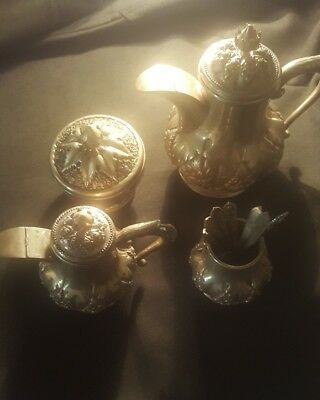 Asian tea coffee set .800 silver 4 pieces +7 spoons