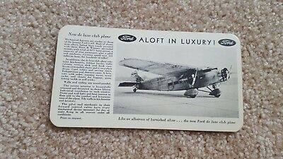 Ford De Luxe Club Plane Vintage advertising Post Card