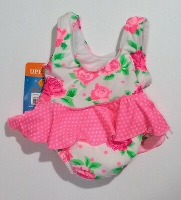 NWT Swim with Me Baby Girl Pink Floral 1-piece Bathing Swim Suit Diaper 6-12M