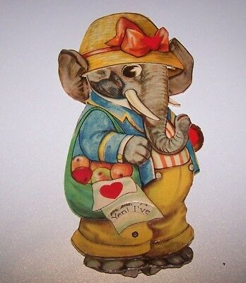 Vintage, movable Valentine. 1930's. Elephant. Mechanical. hat, heart. ON SALE.