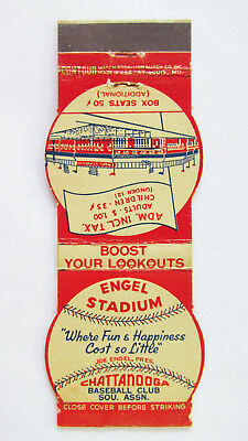 Chattanooga Lookouts Schedule Engel Stadium Baseball Sports Matchbook Cover