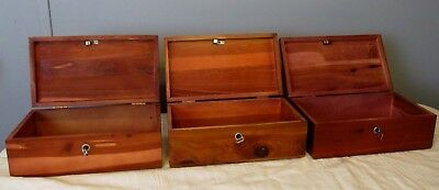 Vintage Lane Cedar Miniature Chests with Keys Trinket Jewelry Boxes Lot of 3