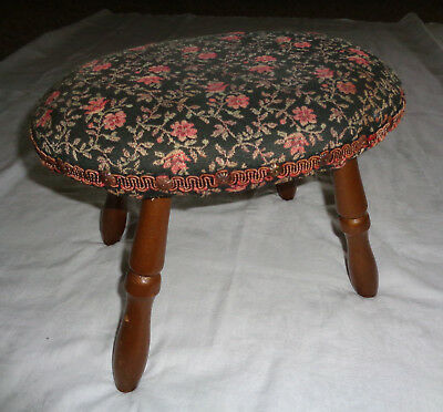 "Vtg Pink Floral Brocade 10"" Footstool Wood Legs Padded Ottoman flower Tapestry"